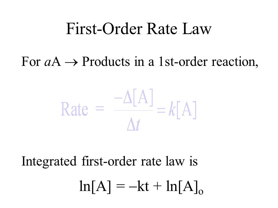 First-Order Rate Law ln[A] = kt + ln[A]o